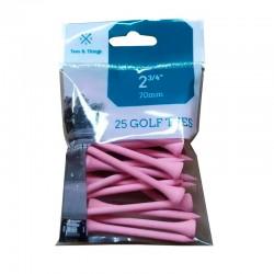 Bolsa de 25 tees de madera rosas de 70mm