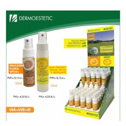 Expositor con 50 Sprays Solar Mix Factor 30 + Repelente y Factor 50.