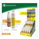 Expositor con 50 Sprays Solar Mix Factor 30 + Repelente y Factor 50.