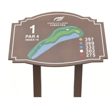 Señal informativa hoyo con panel inclinado.