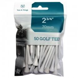 Bolsa de 50 tees de madera blancos de 70mm